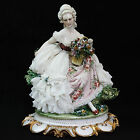 RARE Capodimonte Italy 1043 Lady With Flowers Flower Basket Lace Figurine