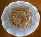 ANCHOR HOCKING GLASS MOONSTONE OPALESCENT RUFFLED CAKE PLATE 10 1/2'' DIAMETER