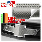 3d Carbon Fiber Matte Vinyl Wrap For Chevy Bowtie Emblem Overlay Sticker Decal