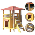 Cat House Pet Shelter Roof Condo Wood Steps Balcony Puppy Stairs Indoor Outdoor