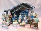 Vintage Nativity set made in Italy hand painted figurines and manger creche