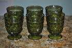 Set of 6 1960s Whitehall Avocado Green Footed Rock Glasses Cubist Colony