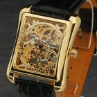 Luxury Skeleton Mechanical Watch Men Top Square Dial Leather Band Reloj Male Uhr