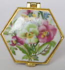 Mini Porcelain jewelry box painted flowers free shipping for USA 1.5