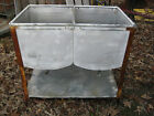 Antique galvanized double wash laundry sink