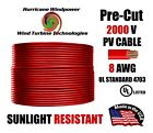 8 AWG Gauge PV Wire 1000 2000 Volt Pre Cut 15 500 Ft for Solar Installation RED