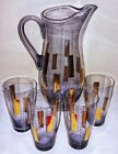 Mid Century Modern Violet Amethyst Gold Tall Glass Pitcher with Four Glasses
