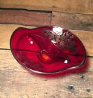 VINTAGE RUBY RED Glass DIVIDED CANDY RELISH BOWL DISH SILVER FLORAL OVER LAY