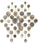 #6B Huge Lot of 42 Twinkle Brass Steel Ball Triad Stars Mirror Back Buttons