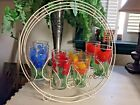 Vintage Set of 8 Retro Mid Century Floral Drinking Glasses w/ Wire Carrier Rack
