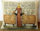 She Seeks Wool and Flax - Primitive Feed Sack Pillow
