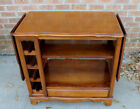 VINTAGE CHERRY SERVER DRINKS CART CABINET PARTY BAR ON CASTERS OPEN 1 SIDE OR 2