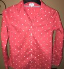 Crown  Ivy Long Sleeved Button Down Shirt Beautiful Pink Color White Polka Dot
