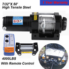 12V 4000LBS Portable Electric Winch Towing Truck Trailer Steel Cable Off Road