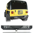 Black Rear Bumper w 2x LED Lights  2x D Rings for 1987 2006 Jeep Wrangler TJ YJ