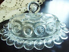 L.E Smith Crystal Clear Moon and Stars Oval Butter Dish