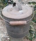 Vintage Primitive Metal Covered Bucket Pail Bail Handle Wood Grip Farmhouse