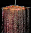 16 Inch Square LED Rainfall Shower Head Brushed Nickel Top Shower Head