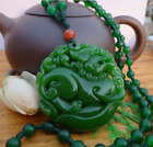 Hetian natural green stone hand carved stone kylin Pendant Fashion Ladies sweate