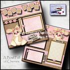 Baby girl 2 premade scrapbook pages paper piecing layout 12x12 album by cherry