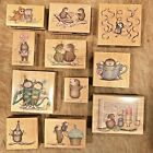 Lot of 11 House Mouse Wood Mounted Rubber Stamps Stampabilities Rare Mice