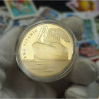 """1pcs RMS Titanic """"In memory of Titanic"""" Gold Plated Commemorative Coin Round New"""
