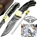 Pocket Knife Damascus Steel Knife Buffalo Horn Back Lock Brass Bloster Folding