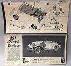 Vintage AMT Parts - 1932 Ford Roadster Instruction Sheet- Circa 1959