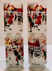 4 Libbey M Dia Drinking Glasses Tumblers Set Winter of 1776 Patriots Skating Vtg