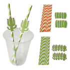 10pcs set Cactus Paper Striped Drinking Straw For Baby Shower Party Decorations