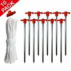 Pack 10 Heavy Duty Steel Metal Tent Canopy Camping Stakes Pegs Ground Nail Red