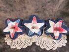 3 Patriotic quilted Stars Bowl fillers, Shelf sitters, Wreath Tucks, Home decor