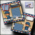 Baseball boy printed 2 premade scrapbook pages t ball paper piecing by cherry