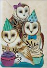Embellished Die Cut Birthday Owls Blank Note Card With Full Color Envelope