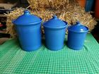 FIESTA WARE  CANISTER SET large med small CROCK Lapis Blue new