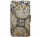 3D Effect Tunnel Shapes Art Leather Flip Phone Case for iPhone & Samsung D3