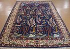 PERSIAN KERMAN Hand Knotted Wool PICTORIAL TREE OF LIFE BLUE Oriental Rug 6 x 10