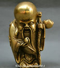Collect Chinese old bronze carve Fukurokuju star god of longevity peach Statue