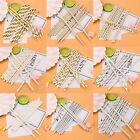 25PCS Set Gold Silver Drink Paper Straws Birthday Party Supplies Theme Hot