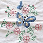 1989 Butterfly Circle 10 embroidered quilt blocks unfinished 18x18 squares