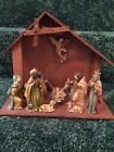 11 piece Vintage Plastic Nativity Set and Wood StableJapanRare Unveiled Mary