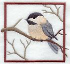 9 x 12 Embroidered Quilt Block Pre Order Chickadee Square
