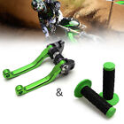 Pivot Brake Clutch Lever + Hand Grips for Kawasaki KX65 KX85 KX125 KX250 Green