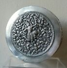 ANTIQUE BURMESE SOLID STERLING SILVER ROUND BOX REPOUSSE 250.8 Grams