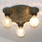 123b Vintage 20s 30s Pewter Ceiling Lamp Poly-chrome Fixture  BEDROOM 3 lights