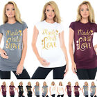 Purpless Maternity Made with Love Gold Slogan Cotton Printed Maternity Top 2015