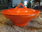 VINTAGE HOMER LAUGHLIN RED HARLEQUIN COVERED CASSEROLE/BEAUTIFUL!