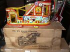 VINTAGE J CHEIN TIN LITHO WINDUP ROLLER COASTER No 275 W 2 cars orig box