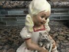 Antique girl painted statue with cat ceramic porcelain 6 1/4