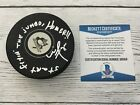 Mike Lange Signed Autographed Pittsburgh Penguins Hockey Puck Beckett BAS COA a